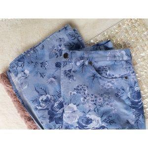 Vintage Trending Floral Print Long Denim Skirt